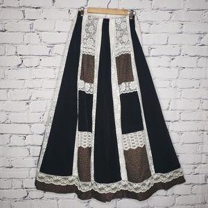 Vintage Velvet & Lace Boho Maxi Skirt